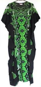 Batik-Kaftan-Calf-Length-Floral-Design-Black-Green