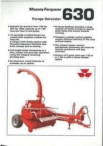 Massey Ferguson Fourragère Harvester Mf630 Brochure-vh6 Bottines-mf 630 Forager-afficher Le Titre D'origine