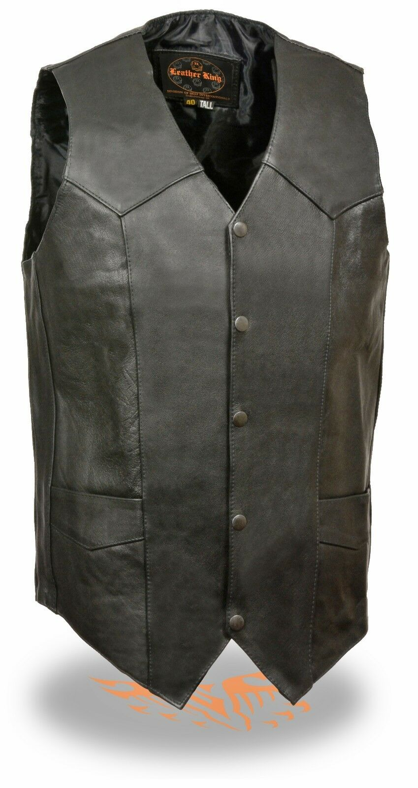 Men's TALL Classic Leather Motorcycle Vest Great for Patches & Bike Clubs