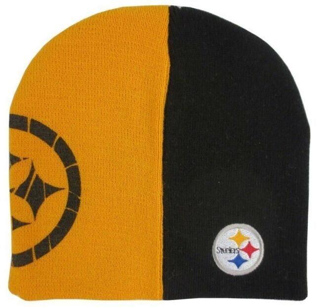 66bc9c8f7a317 Pittsburgh Steelers NFL Kids Youth Split Color Black Gold Cuffless Knit Hat
