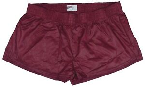 Burgundy-Shiny-Short-Nylon-Shorts-by-Soffe-Size-Small