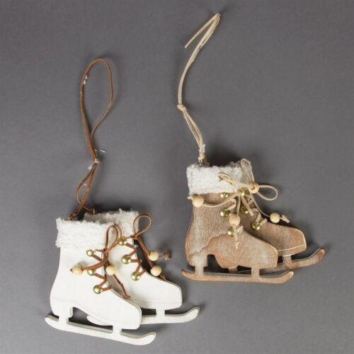 Christmas Decorations Choice of 2 Rustic Wood Skates Brown White Sass /& Belle