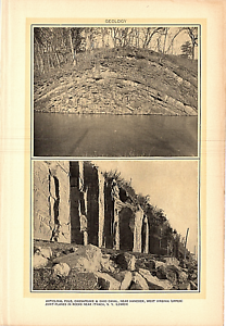 Rare-1903-Antique-Print-Picture-Geology-Anticlinal-Fold-Chesapeake-Ohio-Canal