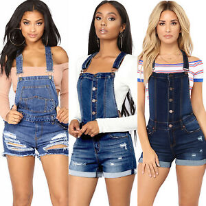 Details About Womens Ripped Dungarees Overall Denim Jeans Shorts Pants Jumpsuit Romper Summer