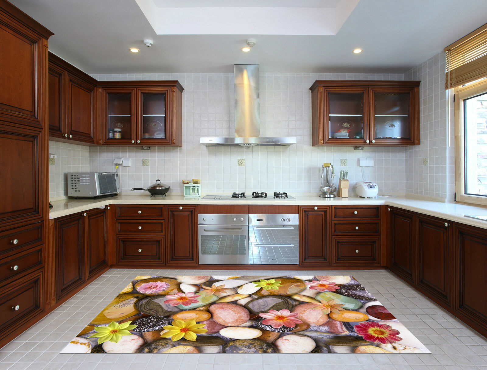 3D Flower Stone 5 Kitchen Mat Floor Murals Wall Print Wall Deco AJ WALLPAPER CA
