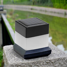Outdoor Garden Solar Powered LED Post Deck Cap Square Fence Light Landscape Lamp