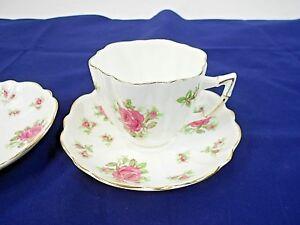 Victoria C/&E Bone China England Tea Cup /& Saucer Rose Gold Trim