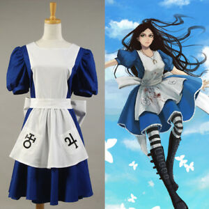 2b5503fb5571e Details about American McGee's Alice Madness Returns Cosplay Costume  Classic Maid Dress Apron