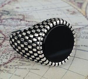 Turkish-Ottoman-Black-Onyx-Gemstone-925-Sterling-Silver-Mens-Ring-Gemstone