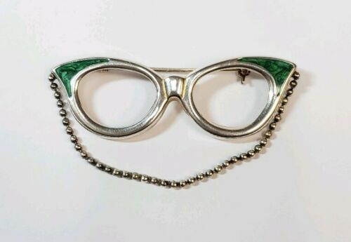 Cool Sterling Silver Glasses Pin Brooch with Green