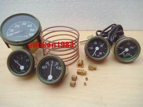 Speedometer Temp Oil Fuel Ampere OLIVE Willys MB Jeep Ford GPW Gauges Kit