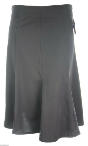 Ladies New Calf Length Panel Embroidery Fishtail Skirt Black Brown Size 8 to 14