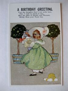Vintage A Birthday Greeting w/ Girl Carrying Presents and Dropped One Postcard