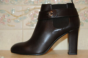 1295 NEW CHANEL Dark Brown Heels CC Logo Ankle Booties BOOTS 38 7.5 ...