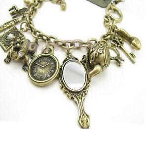 Teekanne-Frosch-Uhr-Wunderland-Armband-Stilvolle-Bronze-Charms-Mir-xj