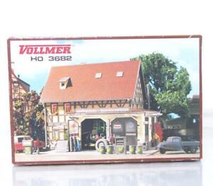 MINT-VOLLMER-3682-HO-OO-KIT-PETROL-STATION-AND-GARAGE-WORKSHOP-158-120-120-mm
