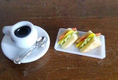 Miniature dolls house accessories Coffee and Ham /& Salad Sandwiches 1:12 scale