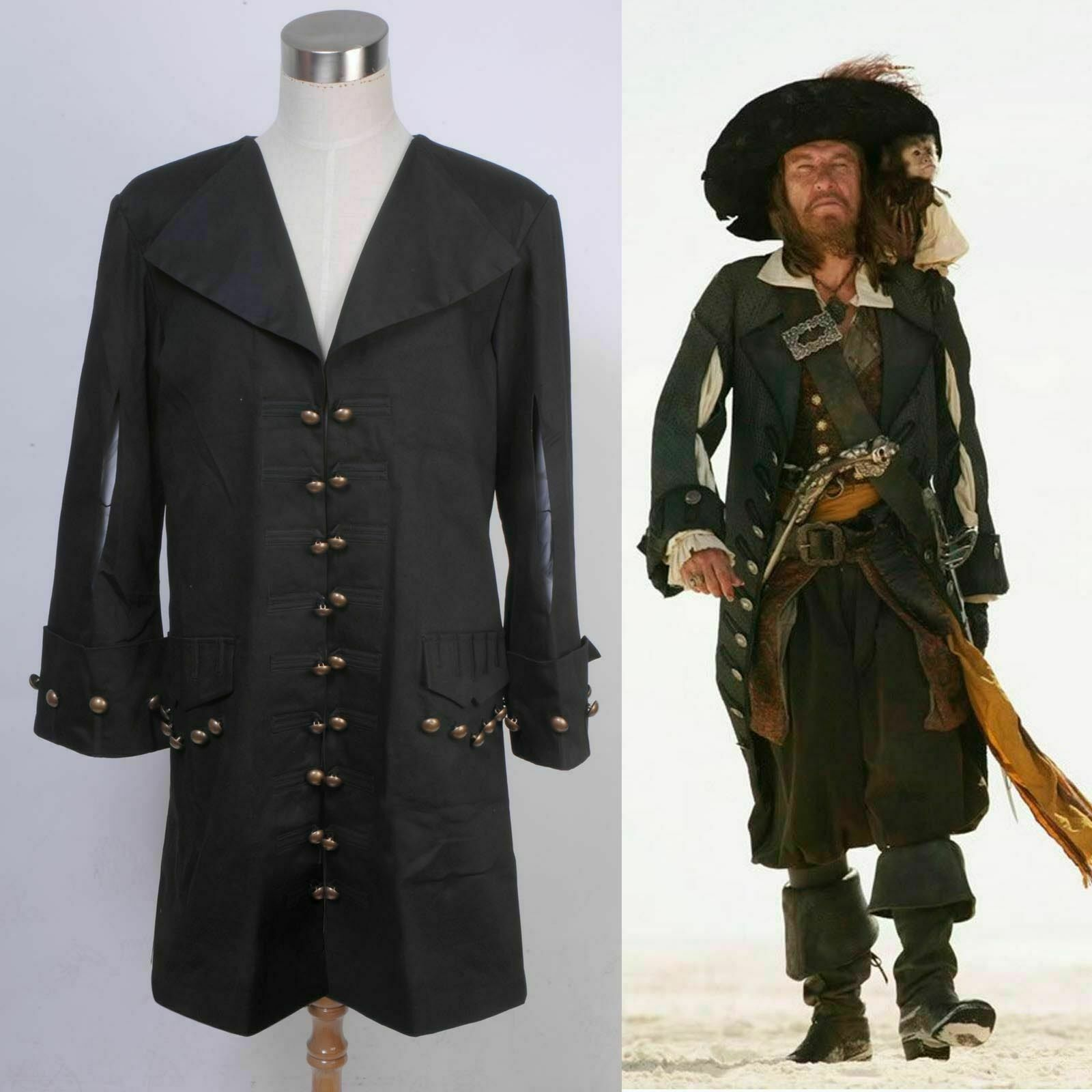 Pirates of the Caribbean Barbossa Jacket Outfit Cosplay Costume Halloween