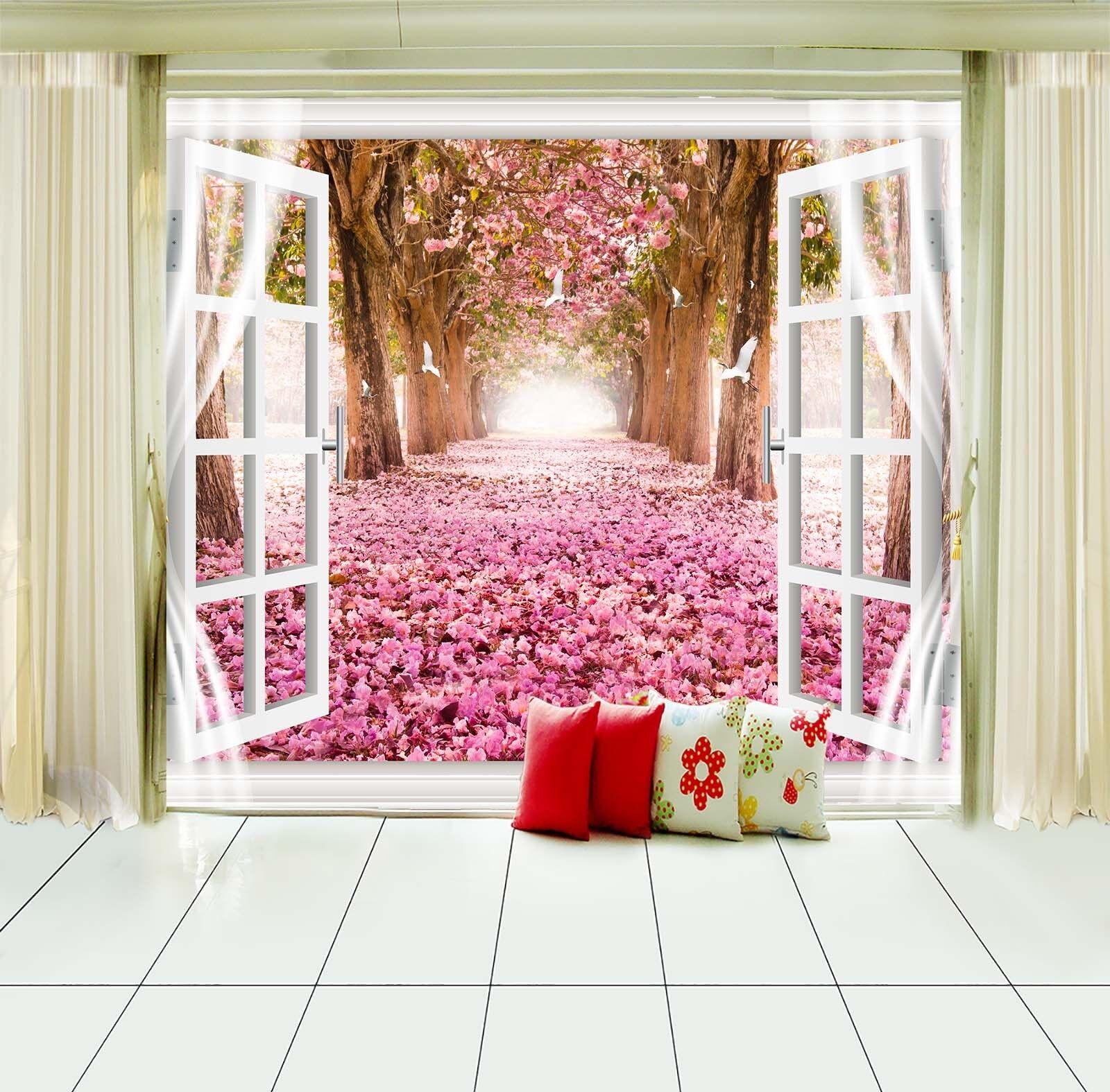 3D Rosa Rosa Rosa Blaumen Fenster 843 Tapete Wandgemälde Tapete Tapeten Bild Familie DE | Erste Gruppe von Kunden  | Feine Verarbeitung  |  08c920