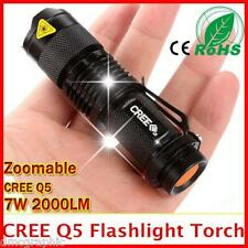 Powerful Cree Q5 LED Flashlight Aluminium Torch 3 Mode Adjustable Focus Lens