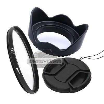 New 58mm Lens Cap + 58mm Lens Hood + 58mm UV Filter For Canon Nikon Sony Camera