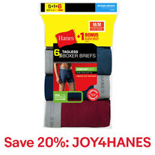 Hanes Mens Boxer Brief 6 Pack TAGLESS Comfort Flex Waistband FreshIQ Bonus Value