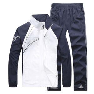 2PC-Set-Men-039-s-Tracksuit-Sport-Jacket-Pants-Casual-Jogging-Athletic-Trainer-Suit