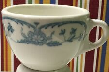 2 Syracuse China White Blue Floral Coffee Cups Mugs Heavy Restaurant Ware Vtg