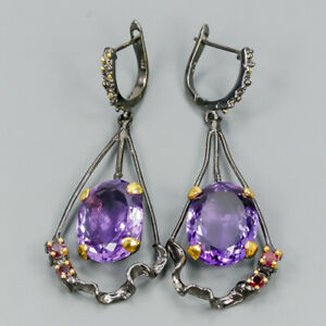 Top-color-28ct-Natural-Amethyst-925-Sterling-Silver-Earrings-E32316