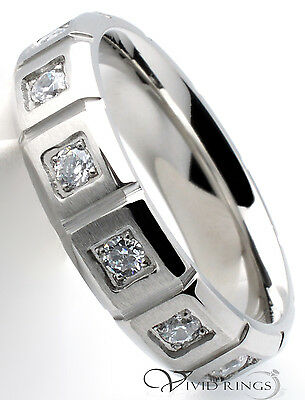 Men's Stainless Steel CZ 6mm  Ring - Size 7 to 12.5