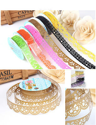 2Pcs Washi PaperLace Roll DIY Decorative Sticky Paper Masking Tape SELF Adhesive