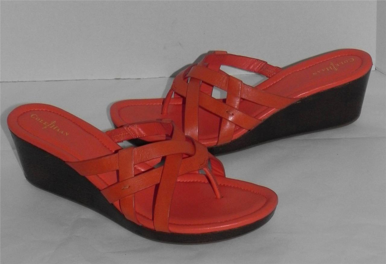 Cole Haan Bonnie Pelle Orange Thong Wedge Sandals 11