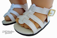 White Summer Gladiator Sandals Shoes for Bitty Baby Doll Clothes Sew Beautiful