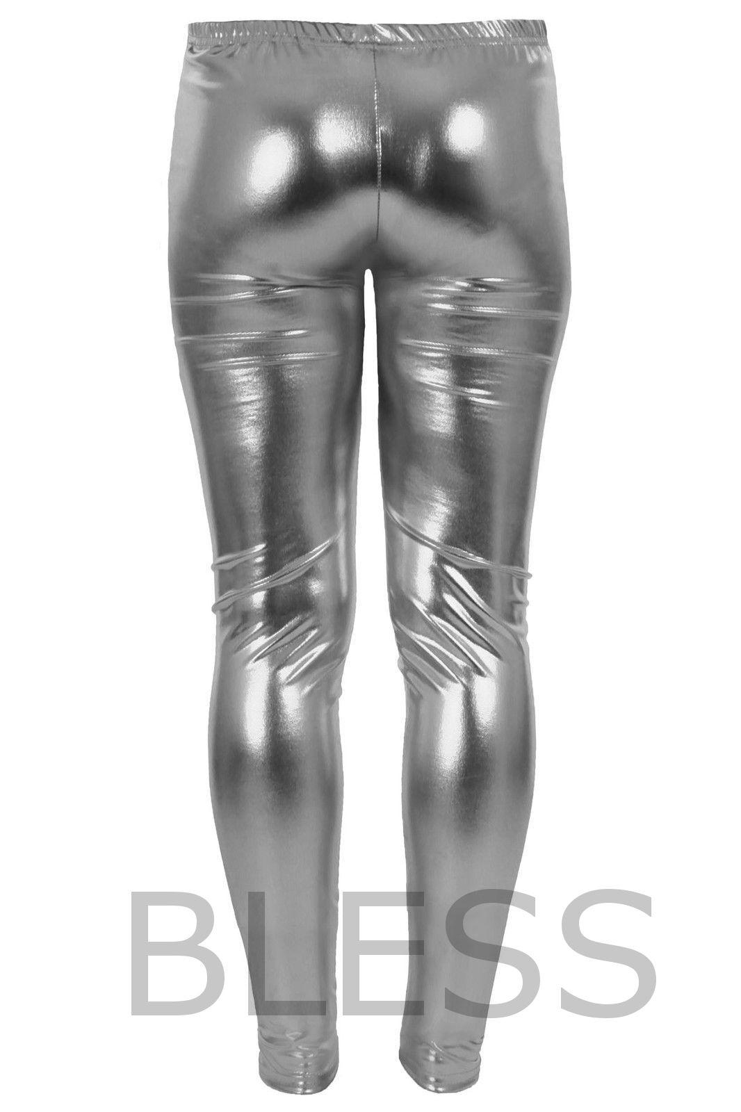 bd1ee23f02b0 WOMENS WET LOOK METALLIC LEGGINGS LADIES FOIL SHINY PLUS SIZE 16 18 20 22  24 26