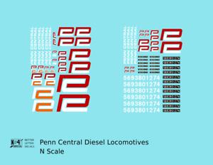 K4-N-Decals-Penn-Central-Diesel-Locomotive-Red-and-White-Heralds