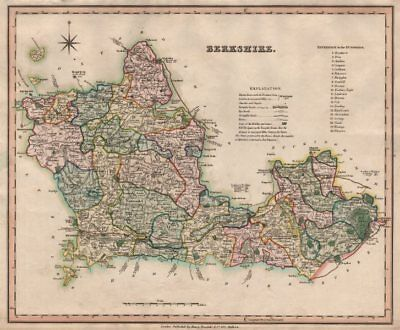 Antique County Map Of Berkshire By Henry Teesdale 1831 Old Chart Sale Overall Discount 50-70%