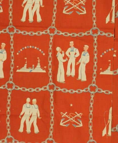 """4Pc Vintage Orange Sailor & Anchor Print Curtain Fabric"""