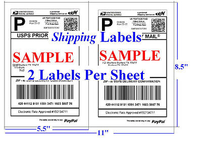 S 1400 Shipping Labels Self Adhesive Half Sheet 5.5 x 8.5 USPS UPS eBay FedEx