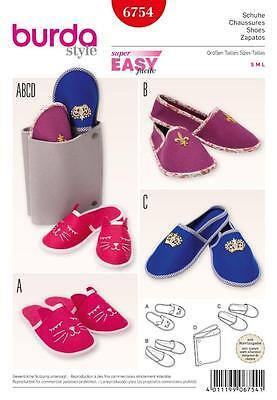 Burda Costura Patrón Super fácil Zapatos Zapatillas S M L 6754