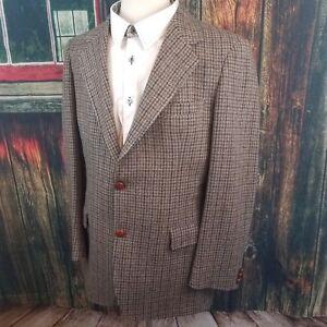 Pendleton-Mens-Gray-Houndstooth-100-Wool-2-Button-Jacket-Sport-Coat-Blazer-42L