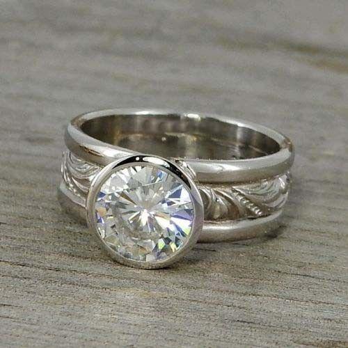 2 Ct Near White Moissanite Bezel Set Antique Engagement Ring 925 Sterling Silver