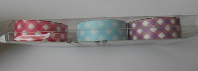 PACK 3 BEAUTIFUL CRAFT CROSS GINGHAM TAPE EMBELLISHMENTS FOR CARDS OR CRAFTS