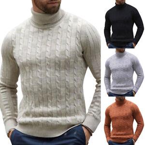 Men-039-s-Warm-Knitted-Sweater-Slim-Fit-High-Neck-Solid-Pullover-Turtleneck-Jumper