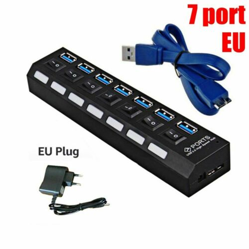 AC Power Adapter 5Gbps High Speed 4//7 Port USB 3.0 Hub on//Off Switches For PC