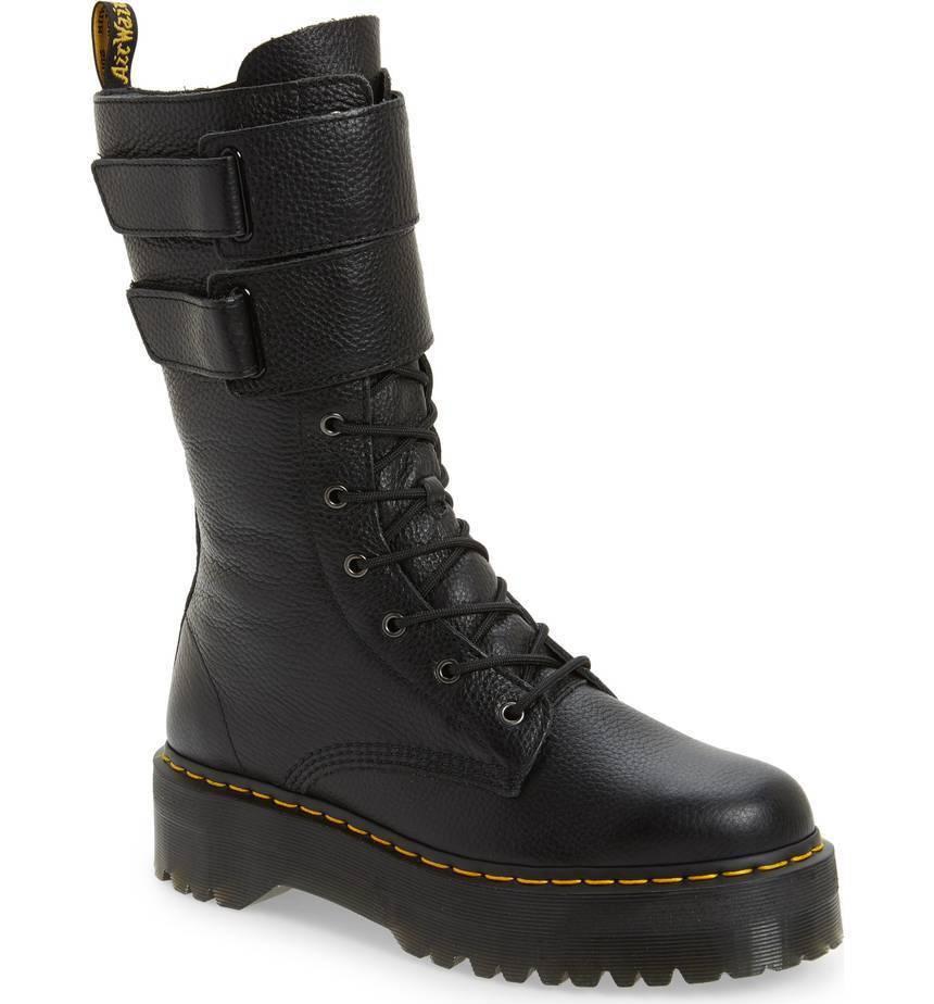NIB Dr. Martens Women's JAGGER 10 Eye Platform Boots Black Aunt Sally 22571001