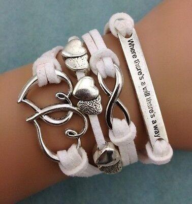 NEW Infinity Love Heart Friendship Leather Charm Bracelet Silver Cute HOT !!!