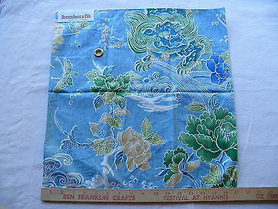 BRUNSCHWIG & FILS SHISHI PEONY & CHINESE LION ON TURQUOISE COTTON PRINT BTY