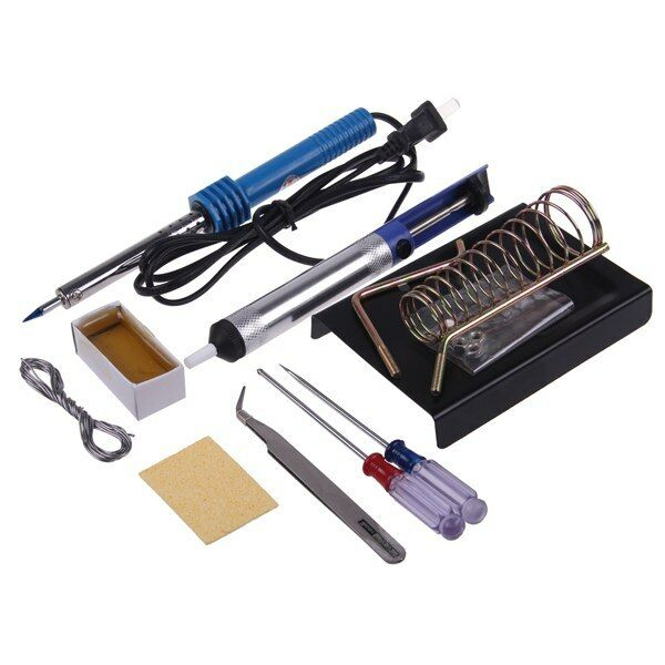 9in1 60W DIY Electric Solder Starter Tool Kit Set with Iron Stand Desolder Pump