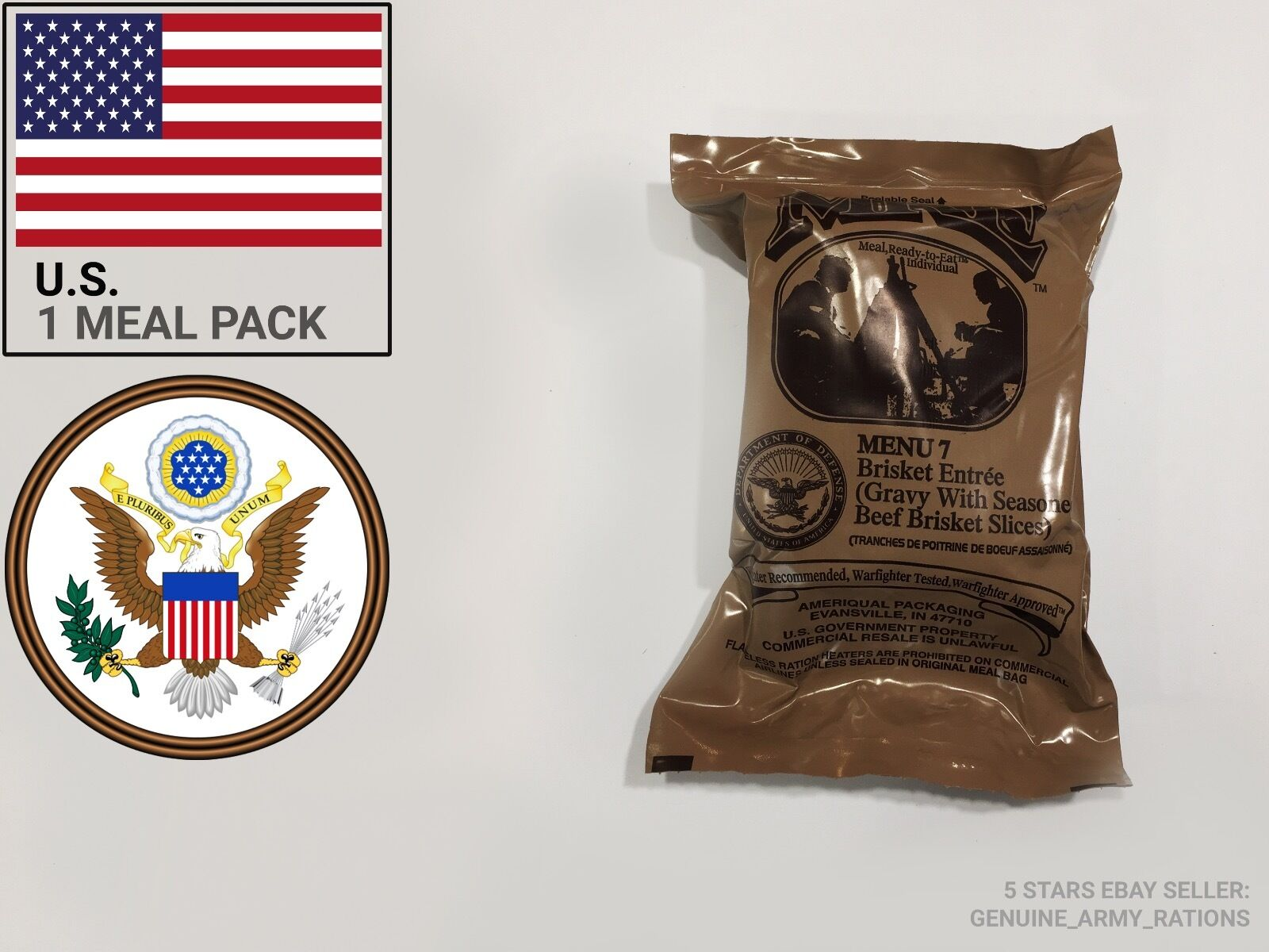 US Army Rations box B. Military meals eat ready to eat meals (MRE). Inspect date 2019-05 968546