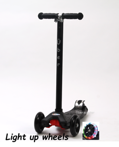 Maxi-Scooter-Maxi-micro-style-LIGHT-UP-WHEELS-BLACK-Boxed-Tilt-n-Turn-4-12yrs